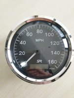 Wholesale 85mm speedometer face gauge speed stainless steel bezel black face miles for boat yacht