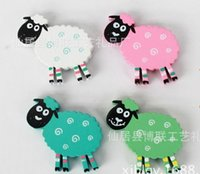 Wholesale wooden sheep Fridge Magnets sheep stickers mix colors European style Shaun