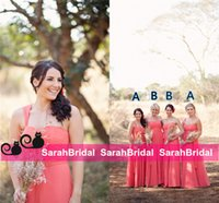 alternative photo - 2016 Real Bridesmaid Photo Style Coral Long Maid of Honor Gowns Alternative Different Bridal Party Formal Gowns Maxi Guest Wear Custom Made