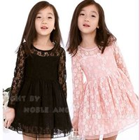 Cheap Spring Fashion Baby Girls Dresses Korean Children Long Sleeve Flowers Lace Hollow Princess Suits Kids Floral Costume Clothing