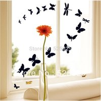 Cheap 1 Set Black Butterfly PVC Removable Wall Sticker Decorate Window Glass Home Decoration DIY Art Vinyl Decals on sale