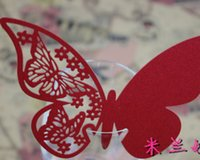 Wholesale Red Butterfly Paper Place Card Escort Card Cup Card Wine Glass Card Seat Card for Wedding Par Favor decoration