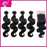 Cheap 7A Virgin Peruvian Body Wave Human Hair Silk Base Closure With Bundles 4Bundles With Silk Closure Peruvian Body wave Hair