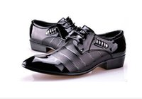Cheap Wholesale-2015 New British Men's Leather Shoes Fashion Man Pointed Toe Formal Wedding Shoes Male Flats Dress Shoes