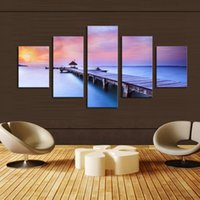 Wholesale 5 Piece Sunset Seascape Blue Seawater Modern Wall Art HD Picture Canvas Print Painting For Living Room Decor Unframed