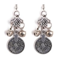 bell coin - Silver Turkish Bell Coin Earrings floral design Boho Gypsy Beachy Ethnic Tribal Festival Jewelry