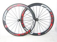 Wholesale Hot sale FFWD wheels F6R mm wheelset novatec carbon hubs full carbon road bicycle bike wheels black red free gifts