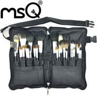 32pcs animal hair brush - MSQ Professional Cosmetic Brush Set Top Grade Soft Animal Sable Hair Black Wood Handle With Black PU Leather Case
