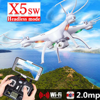 airship models - SYMA X5SW FPV RC Drone Headless Quadcopter with WiFi Camera G Axis Medium Helicopter Quad copter Model