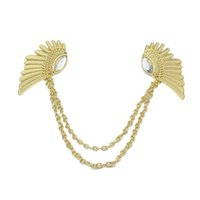 Wholesale Sopop Jewelry vintage jewelry punk style Clear Rhinestone angel wings collar clips necklace for women