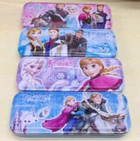 Wholesale 2014 New Hot Selling frozen Pencil case Snow and ice colors Double pencil case free shpping dhl Cartoon metal pen boxes