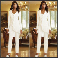 Wholesale Summer Wedding Jacket For Bride - 2016 Chiffon Three-Pieces Mother Of the Bride Jacket Pants Suits Long Sleeve Wedding Party Suit For Mother Dresses