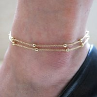 Cheap Wholesale-10pcs Fashion Sexy Double Chain Anklet Bracelet Ankle Chain Foot Jewelry Barefoot Beach