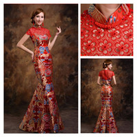 traditional chinese wedding dress - High Neck Cheongsam Wedding Dresses Hollow Back Traditional Chinese Dresses Illusion Sleeve Wedding Mermaid Cheongsam for RJ979