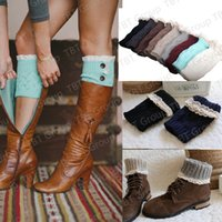wool boot socks - Christmas Women Girls Crochet lace Socks Button Down Boot Cuffs Button Braid Knit Leg Warmers Boot Socks Knee High Socks Frozen colors