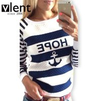 anchor blue hoodies - Women s Hoodies Hot Anchors Striped Causal Tracksuit Blue White Patchwork Sweatshirts Ladies Pullover RD311