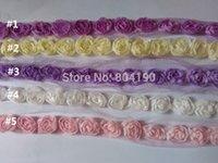 al por mayor cosiendo flores 3d-Flor de Rose de la gasa al por mayor 3D arte de la tela del cordón de costura del ajuste del acoplamiento de la boda rosa, blanco, crema, rosa, violeta