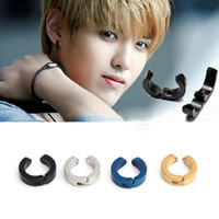 Wholesale 1Pair Cool Men s Stainless Steel Round Ear Clip on No Piercing Stud Earrings Colors Available E128