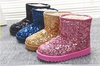 Wholesale Girls Boots new Kds winter Boots for Girls Bling paillette Children snow Boots warm Boys winter shoes girls shoes JIA637