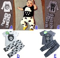 baby eating set - I ll eat you up you re so cute Bowtie Bear Baby Girls Boys Outfits Set Summer Sets Boy Cotton Tops Harem Pants Little monster