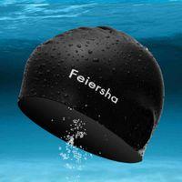 Wholesale Adult bathing cap Men women swimming caps Earmuffs cap Swimming waterproof hair care pure silica gel colors