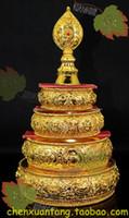 Wholesale Copper alloy gilt Jin Manzha trumpet eight auspicious Manza plate with pallet base Manda Tibetan Tantric Buddhism with