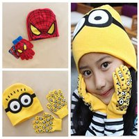 cotton knitted gloves - Good Christmas Gift New Despicable Me Kids Knitted Hat And Glove Spider Man Minions Caps Set Children Cute Fingers Glove