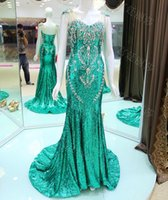 hunting wear - Sparkly Crystal Sequined Formal Dress Luxury Mermaid Cap Sleeve Lace up Closure Long Formal Night Wear In Hunt Green