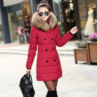 big red ribs - New Arrival Winter Fashion Thicken and Warm Big fur Hooded Coats Women Winter Coats Plus size L XL