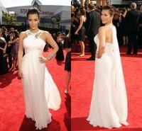 Cheap Goddess Kim Kardashian Evening Dresses High Neck Beading White Long Chiffon Celebrity Dresses Hot Selling 2016 Long Prom Dresses Formal