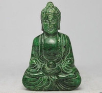 Wholesale CHINESE HANDWORK CARVING BUDDHA OLD JADE STATUE
