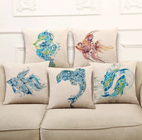 Wholesale Cushion Cover Sofa Office Cushion Cover Gift Pillow Case Abstraction Fish Linen Cotton Single Side Printed Cushion Home Decoration x45cm