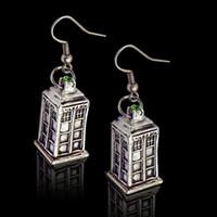 Wholesale 2 colors Doctor Who Tardis Earrings bronze silver Police Box dangle Ear cuffs Doctorwho earrings women statement jewelry pair