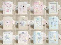 achat en gros de nouveaux designs faits main cadeaux-E130 MINI 1301 12 Dessins Beau Bébé Nouveau-Né à la Main en 3D des Cartes de Voeux Avec Enveloppe Naissance Félicitations Cadeau 105*140mm