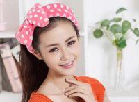 Wholesale Coral velvet bow headband cute Polka Dot Princess makeup face mask headgear hair band