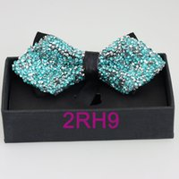Bow Tie 12 52 BAND NEW YIBEI Coachella Ties Silver Turquoise Bowtie Glitter Rhinestone Butterfly Mens Diamond Bow Ties Gift Boxes Borboleta Adjustable