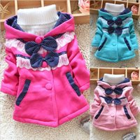 Wholesale Kids Toddlers Baby Girls Coat Hoodie Sweater Bowknot Fleece Children Clothes CM DH04