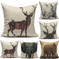 Eco Friendly Yarn Dyed Plain Wholesale Home Office Deer Elephant Rhino European Retro Cotton Cushion Pillow Cover Case For Sofa Bed Cars Decoration