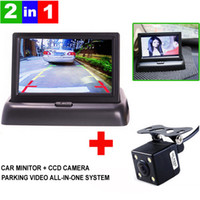 Wholesale High Resolution quot Color TFT LCD Folding Car Parking Assistance Monitors DC V Foldable Car Monitor With Rear View Camera A3