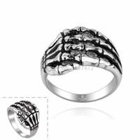 Wholesale 2015 Skeleton Claws Rings Retro L Titanium steel Rings For Men Fashion Jewelry Vintage Punk Skeleton Stainless Metal