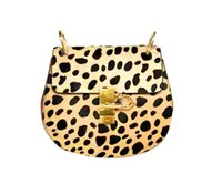 Women animal hair handbags - fashion leopard animal print bag brand new handbag genuine cowhide horse hair leather bag