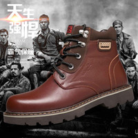 work boots for men - Men Winter Leather Boots Men Outdoor Waterproof Rubber Snow boots Leisure Martin Boots England Retro shoes for mens RME