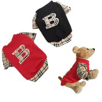 Wholesale 2015 New Summer B Word Plaid Short Sleeve Pet Dog T shirt Pullover Clothing for Dog Puppy Clothes Suit Come Red Black Color