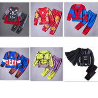 men cotton pajamas set - kids Pajamas big boys winter waer sets Star War Avengers clothes Spider Man Iron Man child warm Sleepwear Minion Pajamas
