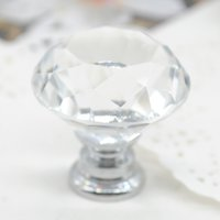 Wholesale 30 mm Diamond Shape Crystal Glass Door Knobs Cabinet Drawer Home Furniture Hardware Kitchen Cupboard Pull Handle X60 JJ0264W