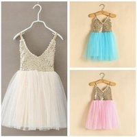 Wholesale New Princess Girls Party Dress Summer Sequined Mesh Tutu Style Wedding Dress Girls Clothes Colors