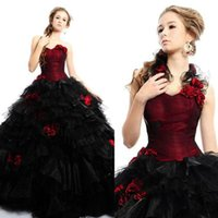 Wholesale 2015 Vintage Burgundy Gothic Ball Gown Wedding dresses with Strapless Flowers Black and Red Tulle Halloween Party Dress Corset Bridal Gowns