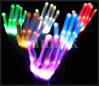 battery gloves - Skeleton Flashing Multi Color Electronic LED Gloves Light Up Halloween Dance Rave Party Carnival Halloween Christmas with Battery DHL Free