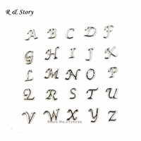 Cheap 2015 New Arrival Silver Script A-Z Alphabet Letters Floating Charms for Glass Living Memory Lockets & Necklaces LFC_1306