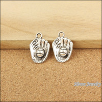 antique baseball glove - 45 Vintage Charms Baseball glove baseball Pendant Antique silver Fit Bracelets Necklace DIY Metal Jewelry Making Jewelry making
